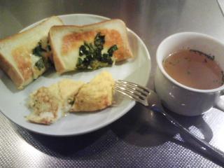 きょうの朝食/ ほうれん草トースト